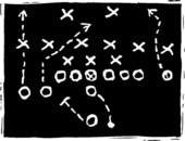 Flag Football Play on Chalk Board