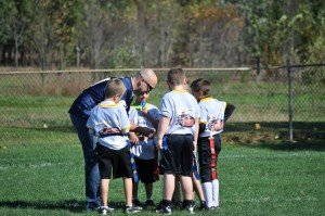 Players gather in the huddle to call the next play